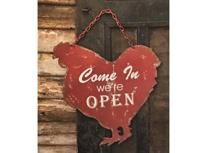 Red Metal Chicken Open/Closed Sign