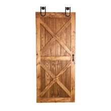 Load image into Gallery viewer, double dual x barn door, wooden sliding barn door, wooden sliding door interior, custom barn door