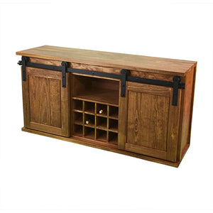 buffet with sliding barn doors, dark wood wine cabinet with sliding doors