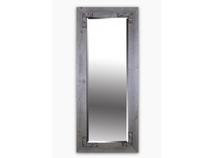Hand Stained Grey Industrial Mirror