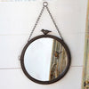 11 inch mirror with bird detail, black framed mirror with bird detail