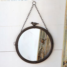 Load image into Gallery viewer, 11 inch mirror with bird detail, black framed mirror with bird detail