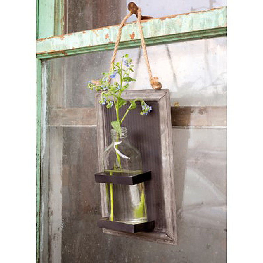 hanging bottle vase, flower holder, farmhouse flower holder, cute floral hanging wall vase