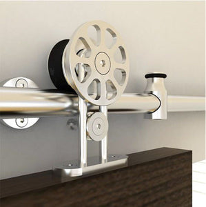 Round Rail Series: Top Mount Stainless Steel European Style with Spoke Wheel Hardware