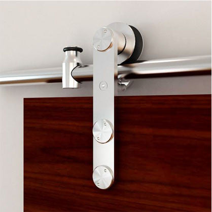 Round Rail Series: Stainless Steel European Style Barn Door Track with Strap Hardware