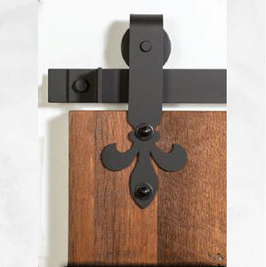 Bi Parting: Black Fleur De Lis Barn Door Track & Hardware