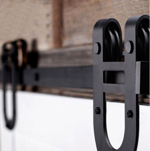 Flat Track Series: Black Horseshoe Barn Door Track and Hardware