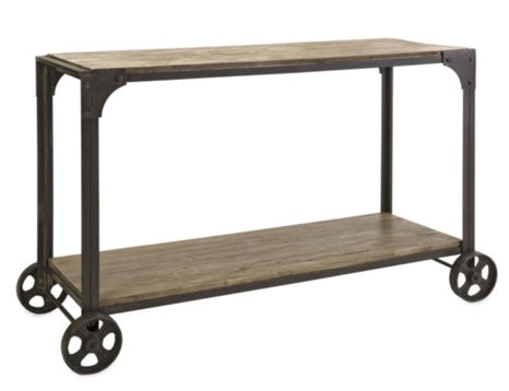 Metal and Wood Console with Metal Wheels
