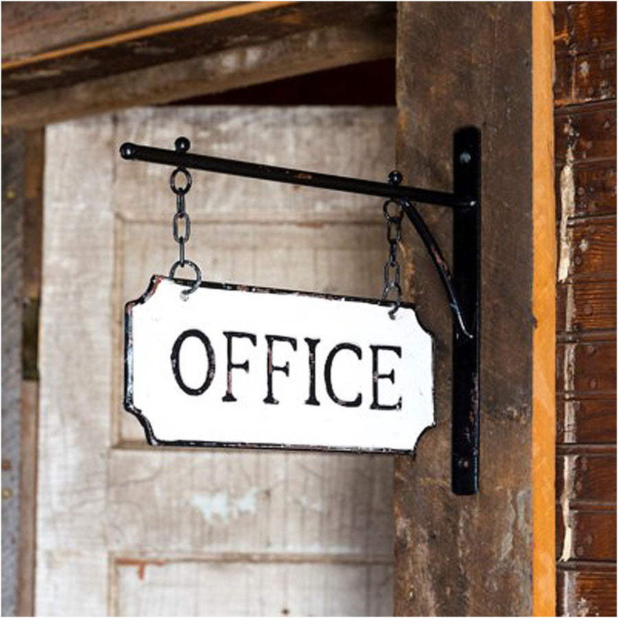 metal office sign, metal office sign with hanging display bar
