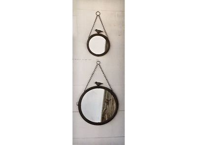 Round Wall Hanging Mirror with Bird Detail
