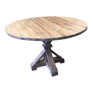 round farmhouse dining table with wood top