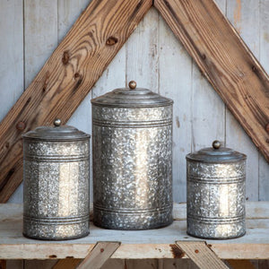 kitchen galvanized canisters, farmhouse kitchen canisters, tall galvanized canisters
