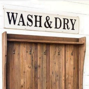 wash and dry sign, wash & dry metal sign, wash and dry laundry sign