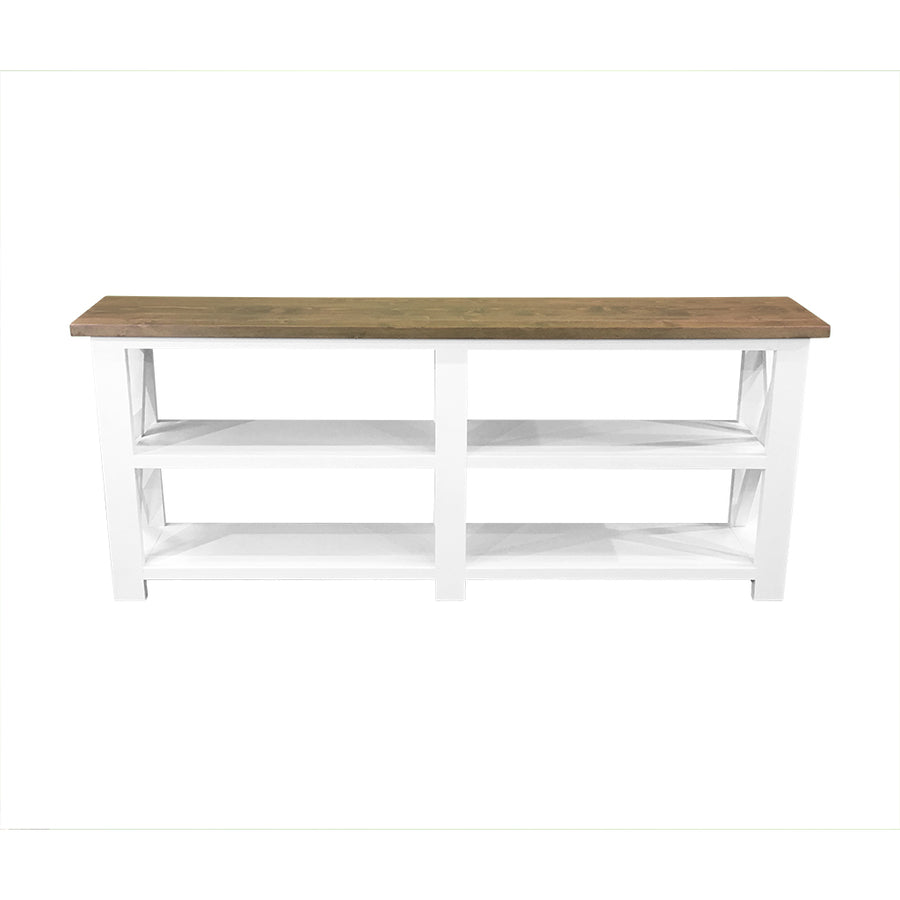 white farmhouse console table with dark wood top, farmhouse hall table, console table, hall table with crosses, sofa table, farmhouse sofa table, custom farmhouse console table, custom farmhouse sofa table, custom farmhouse hall table