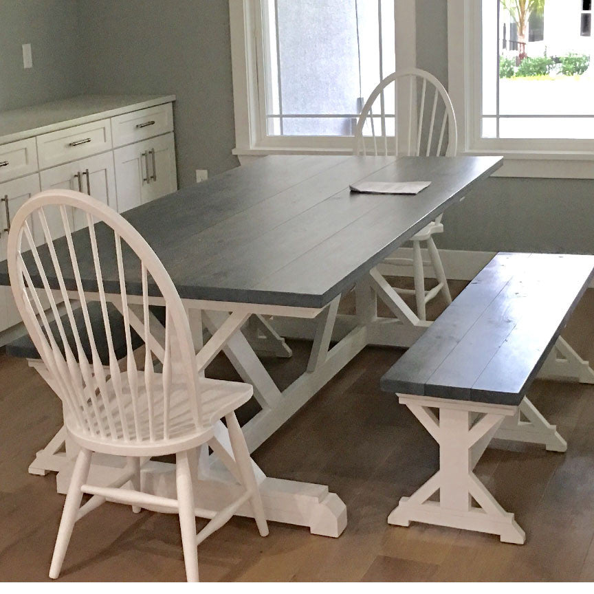 10 Ft Farmhouse Table Trestle Farm Kitchen And Bench