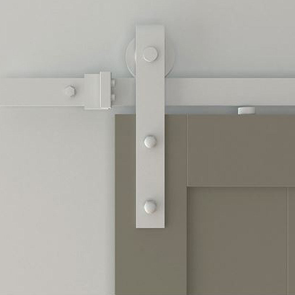 Standard White Barn Door Track And Strap Hardware Mollys Marketplace
