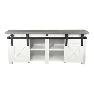 white Barn Door TV Stand with grey wood top, white and grey TV Stand with sliding barn doors, farmhouse style tv stand