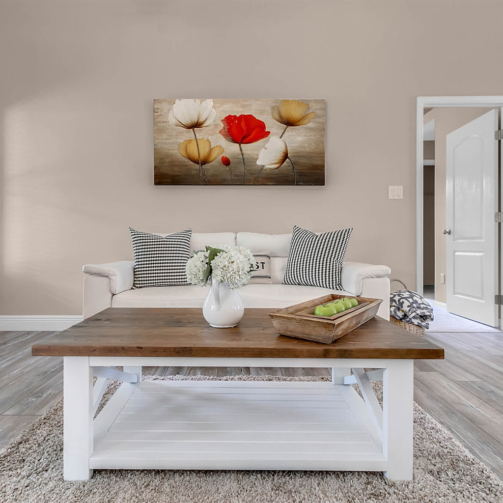Louise - Farmhouse white and wood top Coffee Table