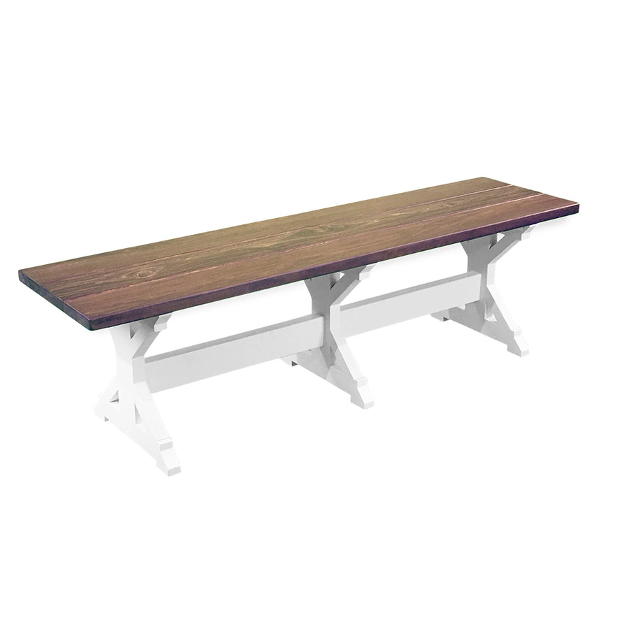 White Farmhouse trestle Bench with wood top, farmhouse bench, farmhouse dining bench, dining room table bench, bench for dining table