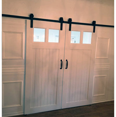 bead board barn door, white barn door, bead board & glass barn door, barn door with glass, farmhouse barn door, shabby chic barn door, barn door painted white, white barn door with black hardware, white barn door with black rail, barn door with window, barn door with windows, custom made barn door, custom barn door,