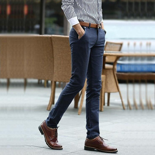Checker-Trimmed Style Straight Chinos
