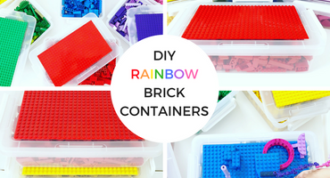 DIY Rainbow Brick Containers