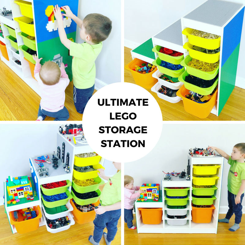 Kids playing with legos, large lego cabinet