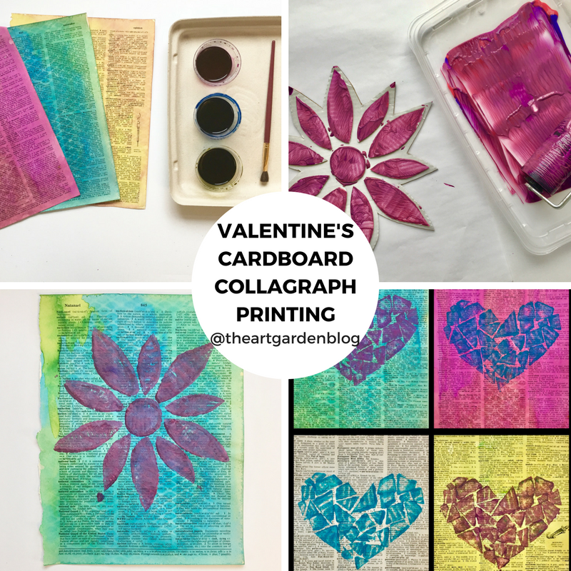 Valentine's Cardboard Collagraph Prints