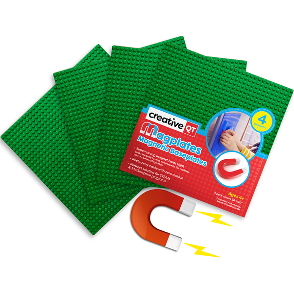 MagPlates® - Magnetic Building Brick Plates - 3 Color Options Available in 1 or 4 Pack!