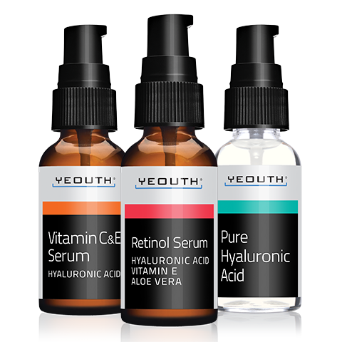 2.5% Retinol Serum + Vitamin C Serum + Hyaluronic Acid Serum