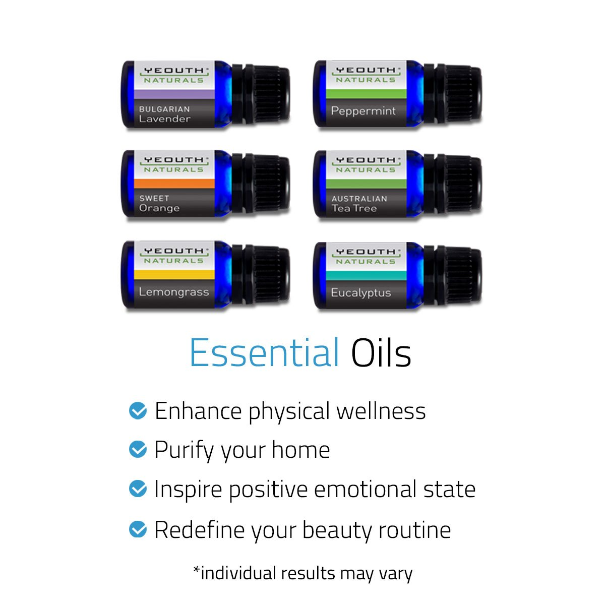 Pure Essential Oils | Aromatherapy Set of 6: Australian Tea Tree Oil, Peppermint Oil, Eucalyptus Oil, Lavender Oil, Sweet Orange Oil, Lemongrass Oil