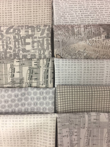 Basic Grey COMPOSITIONS Old Letters 10 fat quarters