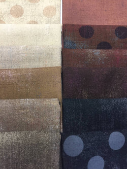 GRUNGE Brown and Black 12 fat quarters
