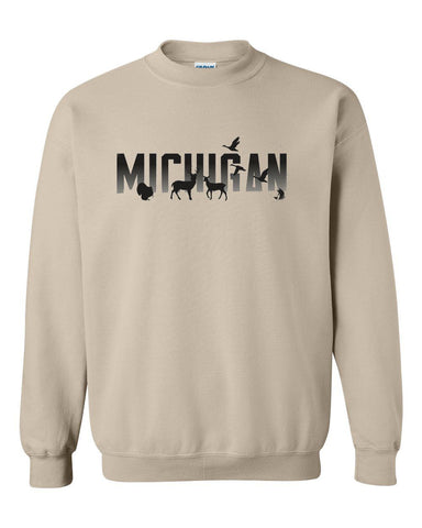 Michigan Wildlife Natural Crew Sweatshirt