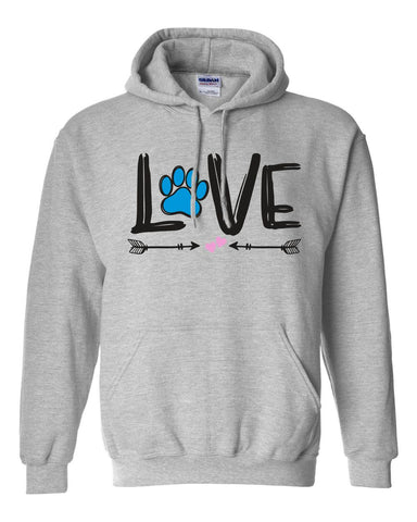 Love Paw Print Hooded Sweatshirt