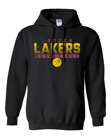 Lapeer Lakers Basketball Hooded Sweatshirt (Black)