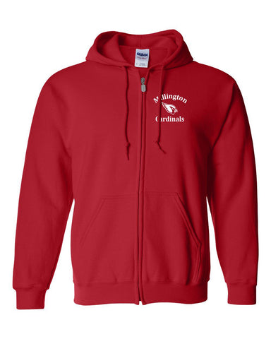 Millington Cardinals Embroidered Full Zip Hoodie