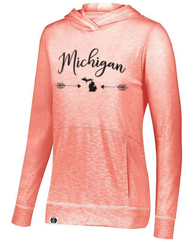 Coral Michigan Arrow Lightweight Hoodie