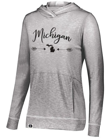 Grey Michigan Arrow Lightweight Hoodie