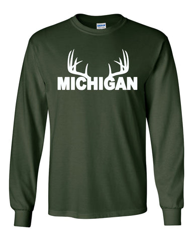 Unisex Michigan Antler Long Sleeve