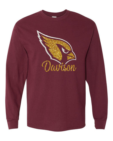 Davison Cardinals Glitter Long Sleeve