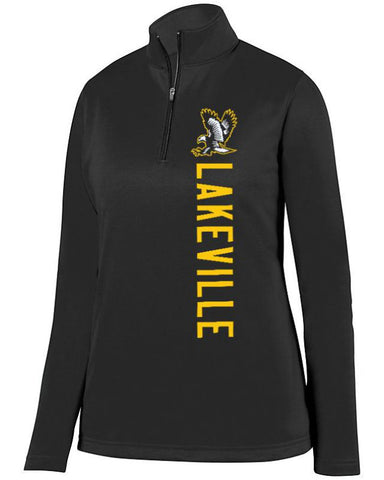 Black Lakeville Falcons Ladies 1/4 Wicking Fleece Pullover