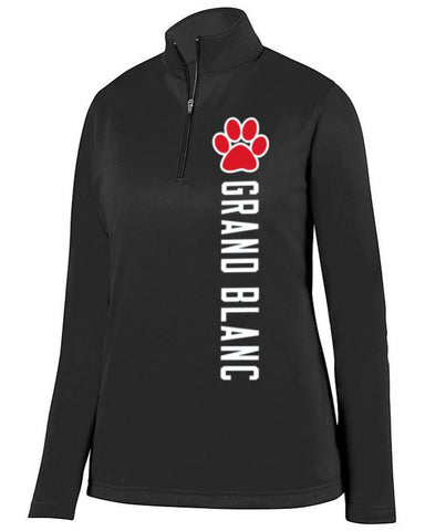 Black Grand Blanc Bobcats Ladies 1/4 Wicking Fleece Pullover