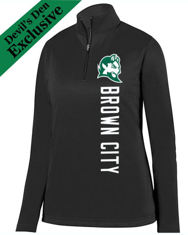 Black Brown City Ladies 1/4 Wicking Fleece Pullover