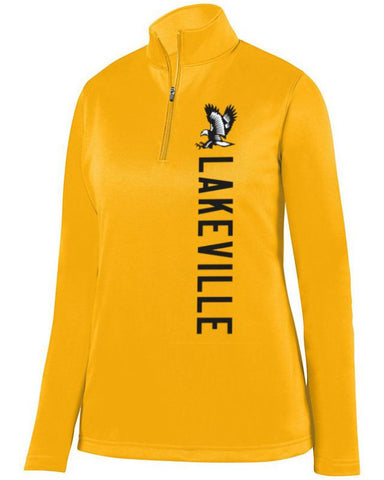 Gold Lakeville Falcons Ladies 1/4 Wicking Fleece Pullover
