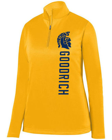 Gold Goodrich Martians Ladies 1/4 Wicking Fleece Pullover