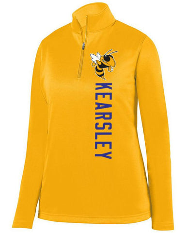 Gold Kearsley Hornets Ladies 1/4 Wicking Fleece Pullover