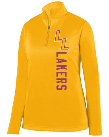 Gold Lapeer Lakers Ladies 1/4 Wicking Fleece Pullover