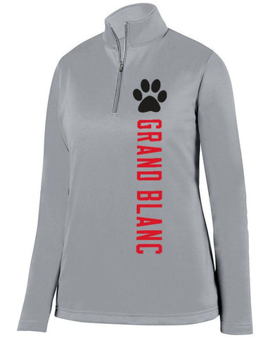 Grey Grand Blanc Bobcats Ladies 1/4 Wicking Fleece Pullover