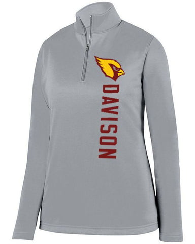 Grey Davison Cardinals Ladies 1/4 Wicking Fleece Pullover